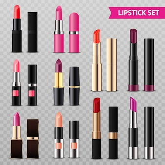 Lipsticks assortment realistic set transparent