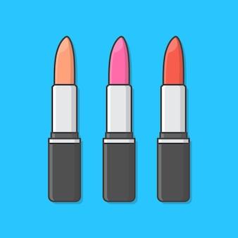 異なる色の口紅。メイクアップ美容製品。口紅の包装