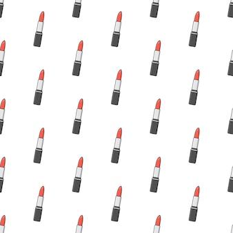 Помады бесшовные узор на белом фоне. макияж красоты тема векторные иллюстрации