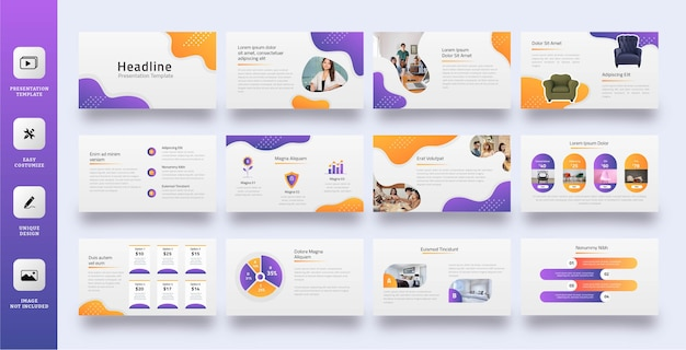 Liquid abstract slide presentation template set