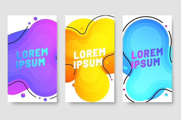 Liquid banner template collection with cool gradient colors