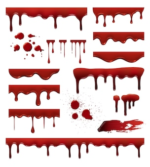 Liquid blood. red sauces drops splashes blob blood stain templates collection. blood liquid, blob and spot, drip splatter illustration