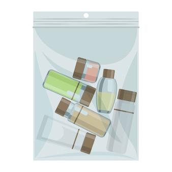 化粧品ボトルが入ったキャビンサイズの液体ビニール袋