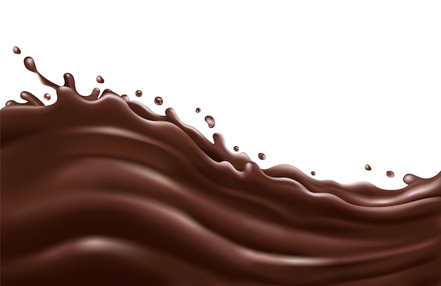 Liquid chocolate splash wave on a white background