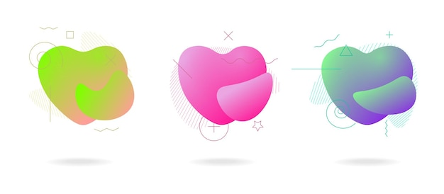 Liquid color abstract geometric form love heart shapes fluid modern plastic abstract colorful waves