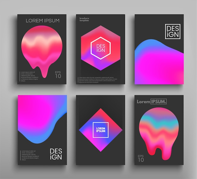 Liquid color brochures, posters set. fluid colors.  templates futuristic posters, leaflets, s for your projects