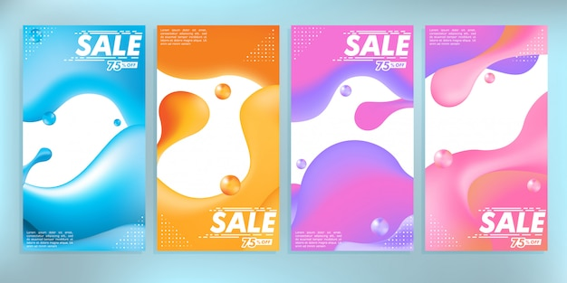 Liquid colored abstract modern graphic sale banner stock