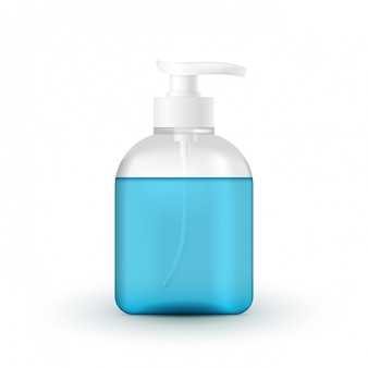Жидкая косметическая трубка с насосом. коронавирусная защита рук, дезинфицирующее средство для рук, реалистичный контейнер, гель для мытья рук. спирт гель для мытья рук с насосом дозатором на белом фоне.