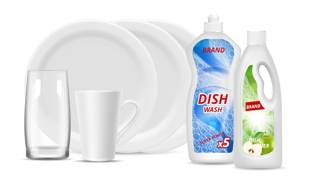 Liquid detergent bottles. clean dishes, glass, cup. vector realistic white plates, packaging detergent. kitchen dish wash for utensil, hygiene and dishwashing illustration