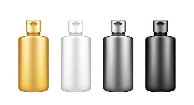 Набор макетов черной бутылки жидкого моющего средства или отбеливателя