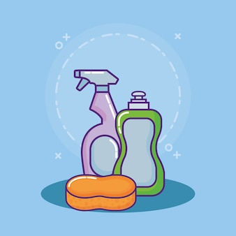 Liquid Dish Soap bottle and spray bottle