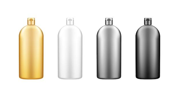 Liquid dishwashing detergent, fabric softener plastic bottle mockup with cap set