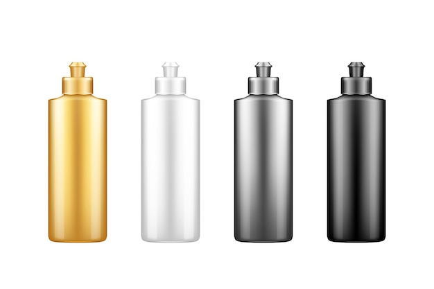 Liquid dishwashing detergent, rinser plastic bottle mockup set with cap
