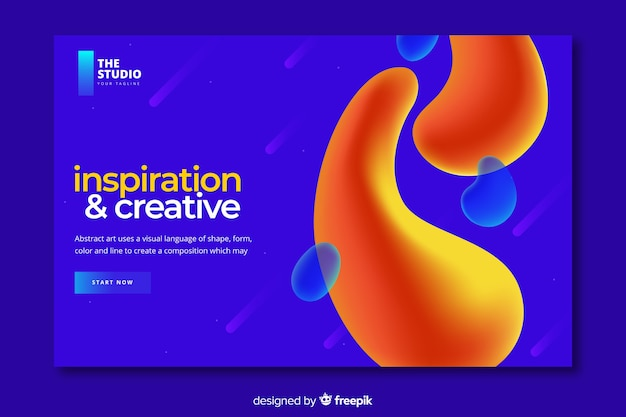 Liquid effect landing page template
