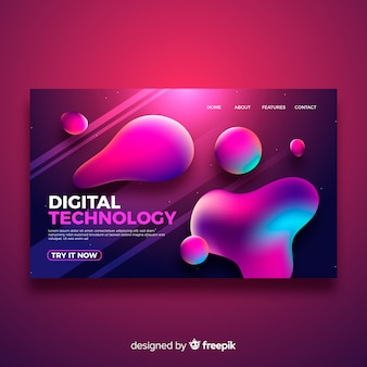 Liquid effect purple landing page
