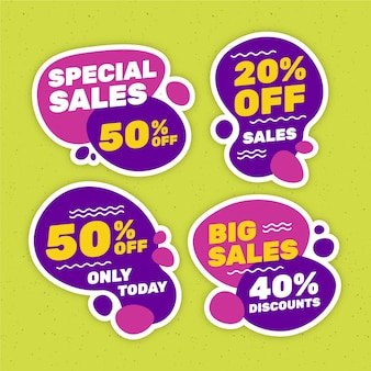 Liquid effect of sales banners set