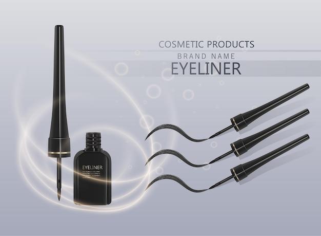 液体アイライナーセット、3dイラストで化粧品用のアイライナー製品のモックアップ、明るい背景で隔離。ベクトルeps10イラスト