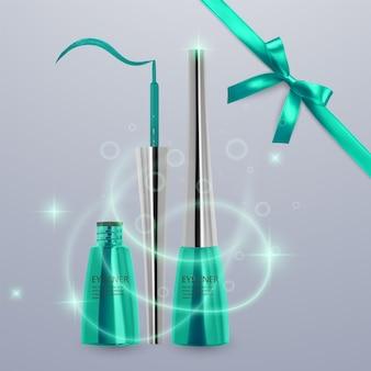 液体アイライナー、明るい緑色のセット、3dイラストで化粧品用のアイライナー製品のモックアップ、明るい背景で隔離。ベクトルeps10イラスト