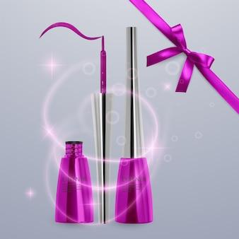 液体アイライナー、明るいピンク色のセット、3dイラストで化粧品用のアイライナー製品のモックアップ、明るい背景で隔離。ベクトルeps10イラスト