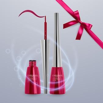 液体アイライナー、明るい赤色のセット、3dイラストで化粧品用のアイライナー製品のモックアップ、明るい背景で隔離。ベクトルeps10イラスト