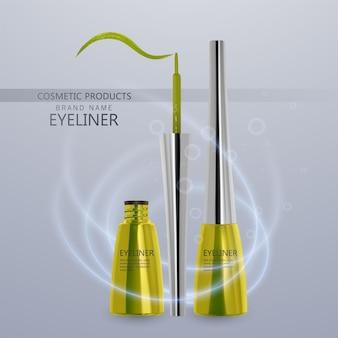 液体アイライナー、明るい黄色のセット、3dイラストで化粧品用のアイライナー製品のモックアップ、明るい背景で隔離。ベクトルeps10イラスト