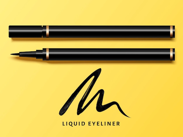 Liquid eyeliner set, top view of eyeliner product for cosmetic use in 3d illustration, isolated on yellow with black stroke