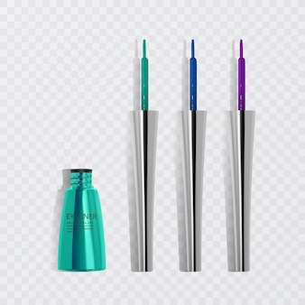 Liquid eyeliners, set of bright colorful eyeliners, product   for cosmetic use in 3d illustration, isolated