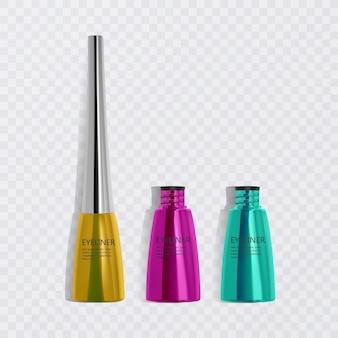 Жидкие подводки для глаз, набор ярких красочных подводок, продукт для косметического использования в 3d иллюстрации, изолированные