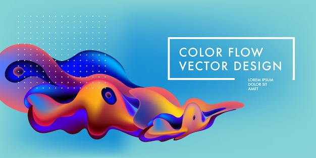 Liquid and flow abstract colorful banner design template