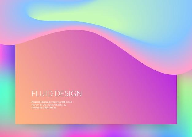 액체 액체. 현대적인 유행이 혼합된 홀로그램 3d 배경입니다. 분자 ui, 웹사이트 템플릿