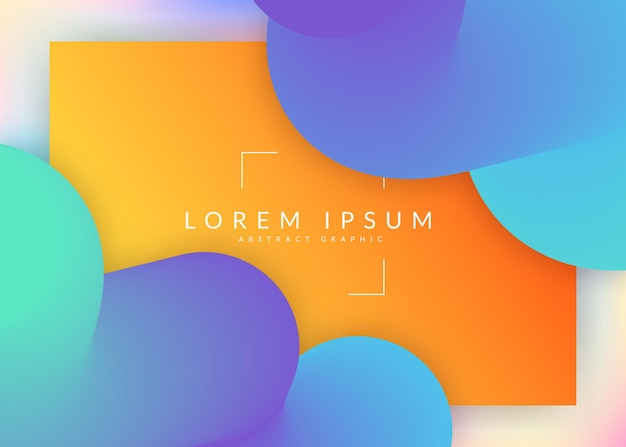 Liquid fluid. vivid gradient mesh. holographic 3d backdrop with modern trendy blend. minimal banner, screen template. liquid fluid with dynamic elements and shapes. landing page.