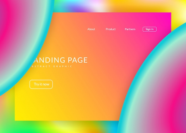 Liquid fluid with dynamic elements and shapes. landing page.