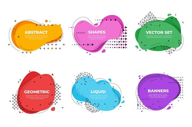 Баннеры жидкой формы. элементы форм дизайна, геометрическая графика современной бизнес-презентации. абстрактная рамка мемфиса, минимальный векторный шаблон. форма потока жидкости, иллюстрация всплеска жидкости мемфис