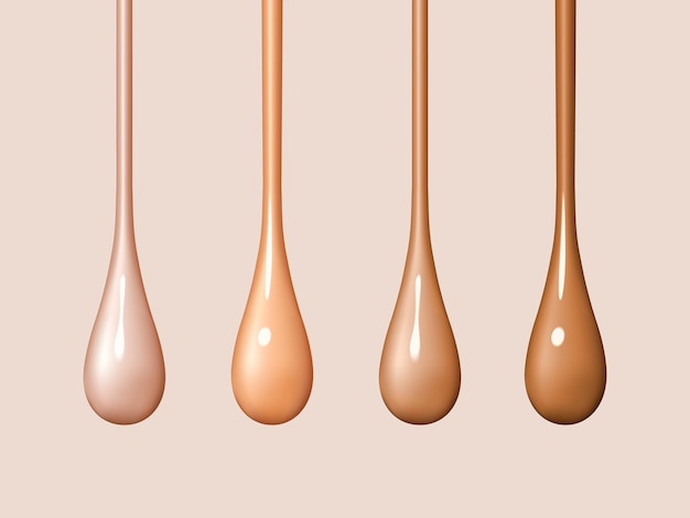 Liquid foundation drops isolated on background