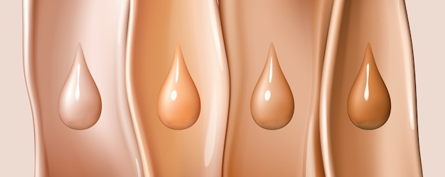 Liquid foundation drops isolated on colored liquid flows background