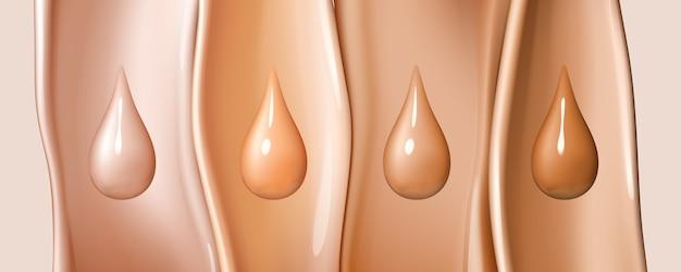 色付きの液体の流れの背景に分離された液体ファンデーションドロップ