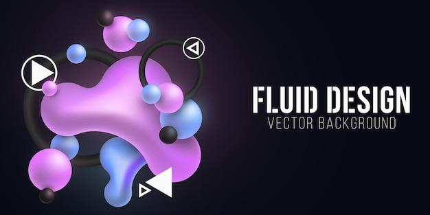 Жидкие светящиеся фиолетовые и синие формы на темном фоне. концепция форм жидкого градиента. люминесцентные геометрические элементы. футуристический фон.