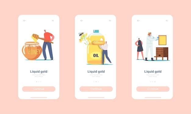 Liquid gold 모바일 앱 페이지 온보드 화면 템플릿. 꿀과 기름 개념을 추출하는 작은 문자. 벌집을 복용하는 양봉장에서 보호복을 입은 양봉가. 만화 사람들 벡터 일러스트 레이 션