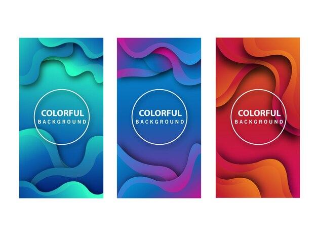 Liquid gradient backgrounds set