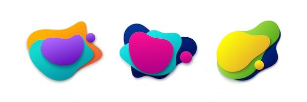 液体グラデーション色の形状セット。図。グラフィックデザイン要素。モダンな最小限のラベルテンプレート。抽象的なカラフルなバナー