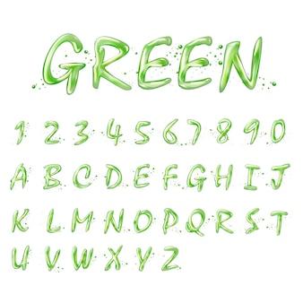 白い背景の上の液体の緑のアルファベットと数字のコレクション
