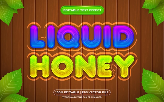 Liquid honey editable text effect template style with nature background