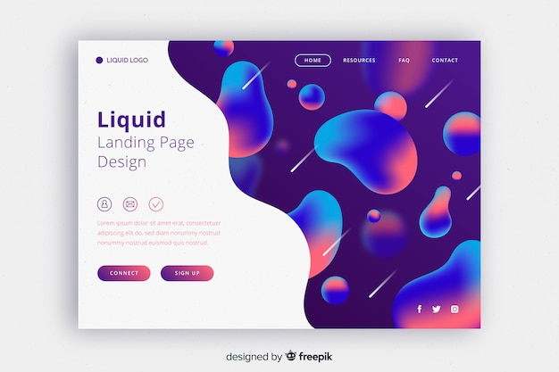 Liquid landing page with half free space