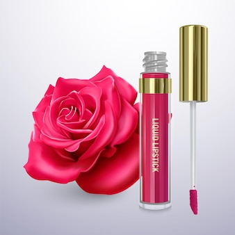 Liquid lipstick in a bright pink color Premium Vector
