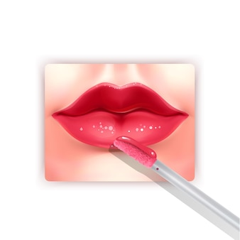 Liquid lipstick and realistic red lips brush fashion element