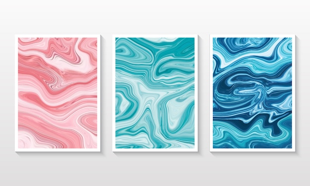 Liquid marble background collection set