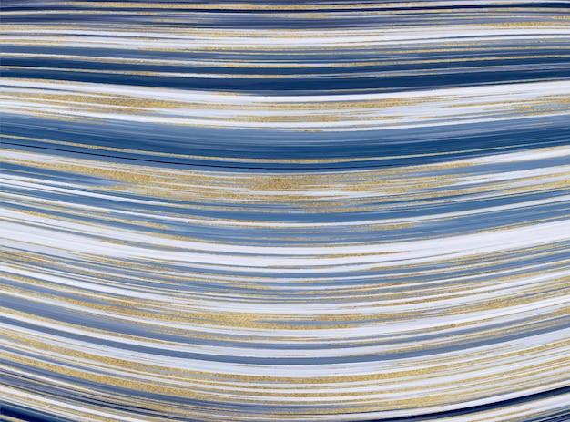 액체 대리석 질감. 파란색과 황금색 반짝이 잉크 그림 추상적 인 배경