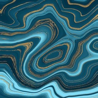 液体大理石のテクスチャ。青と金色のキラキラ水墨画抽象的なパターン