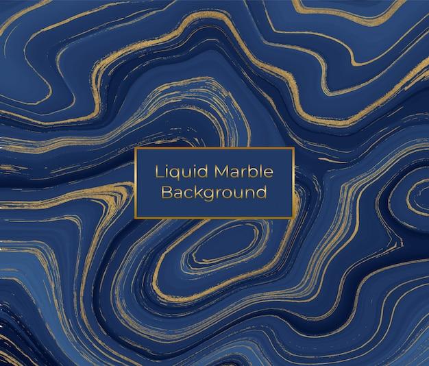 액체 대리석 질감. 파란색과 황금색 반짝이 잉크 그림
