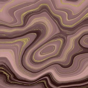 液体大理石のテクスチャ。ローズゴールドとゴールドのグリッター水墨画の抽象的なパターン。
